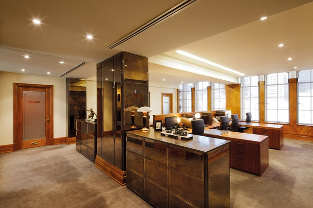 Offices on level 11 combines new mirrors with original filing cabinets.