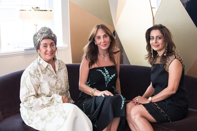 From left, Nina Yashar, Shalini Misra and Mehves Ariburnu at SQUAT London.