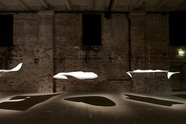 "Floating ""moments"" from prior projects  accompanied Zaha Hadid's <em>Arum</em> sculpture for the Common Ground exhibition at the 2012 Venice Architecture Biennale."