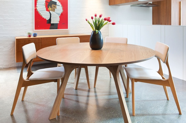 lyssna round dining table and yo dining chairs by george harper