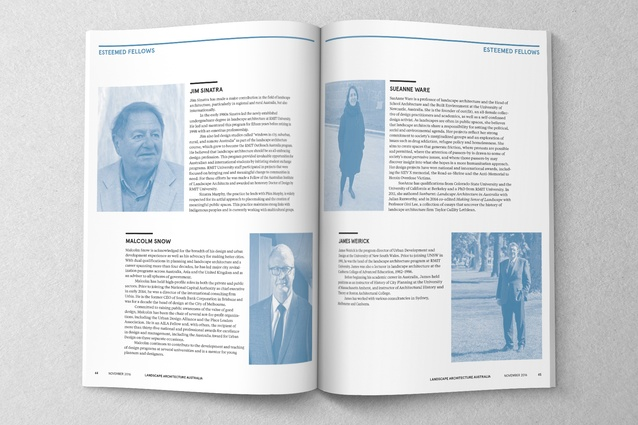 A spread from LAA 152: 50 Years of Australian Landscape Architecture.