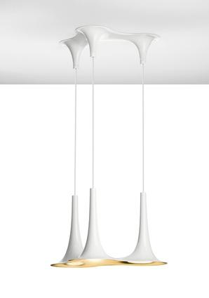 Nafir lights with gold interior and white exterior by Karim Rashid.