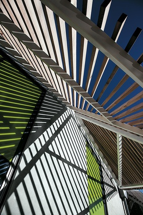 External detail of the triangulated shade canopies.
