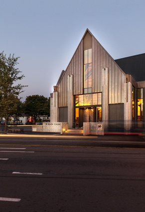 Public Architecture Award: Knox Presbyterian Church rebuild by Wilkie + Bruce Architects. New west entry from Victoria Street.