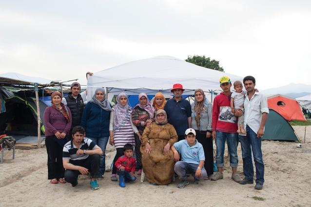The Bablis family from Damascus, Syria, inside the Idomeni refugee camp.