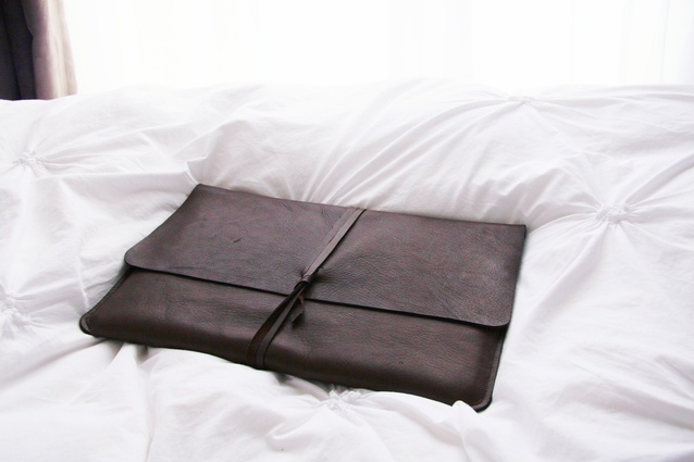 Ebony Brown Leather Portfolio by Elizabeth Kwan 