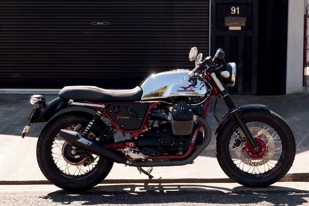 "Moto Guzzi: Craig has a Harley, a Ducati and this new toy. The latter was customised with a larger seat ""because motorbikes can be a selfish hobby and I wanted a seat that could accommodate my daughters."""