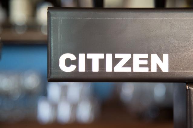 Stylish signage at Citizen Park.