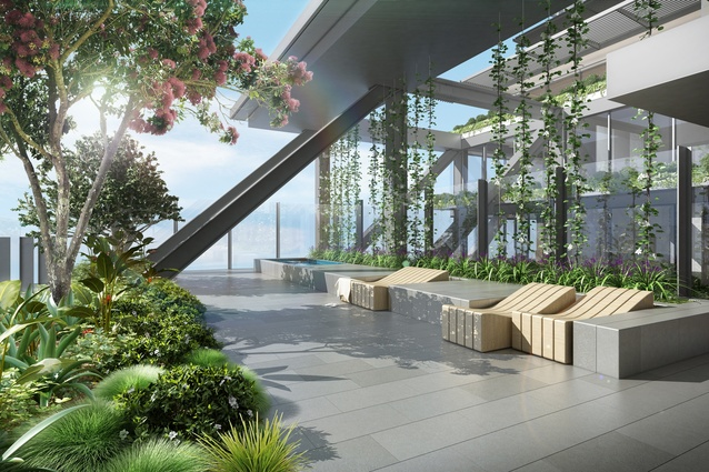A render of the cantilevered sky garden.