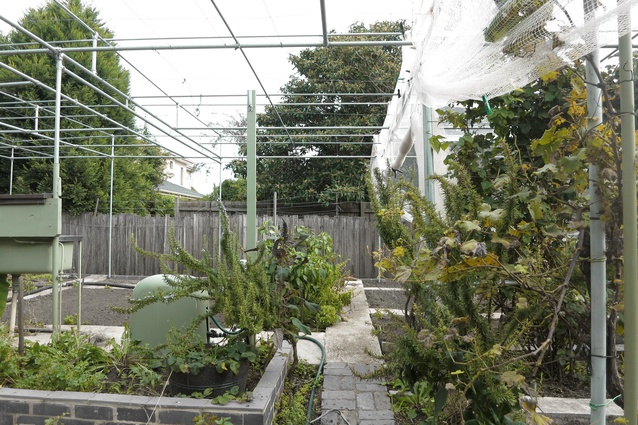 An extensive pergola-like system of poles with netting over the cultivated beds keeps possums and birds at bay. A free-standing sink in the garden is used to wash vegetables.