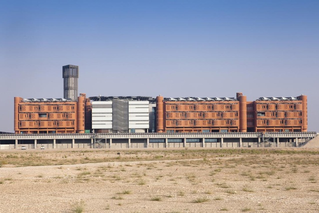 Masdar Institute campus, Abu Dhabi. The community is independent of any power grid and develops a surplus of 60 percent of its own energy needs.