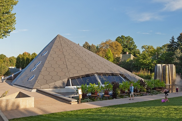 Science Pyramid, Denver. The skin is covered with Swisspearl panels that act as rain screens, diverting water away while preventing thermal gain, keeping the interior cool.