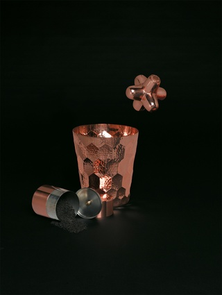 Cast Mini Jack Copper by Tom Dixon; Japanese Tea Caddy; Hex Champagne Bucket in Copper by Tom Dixon.