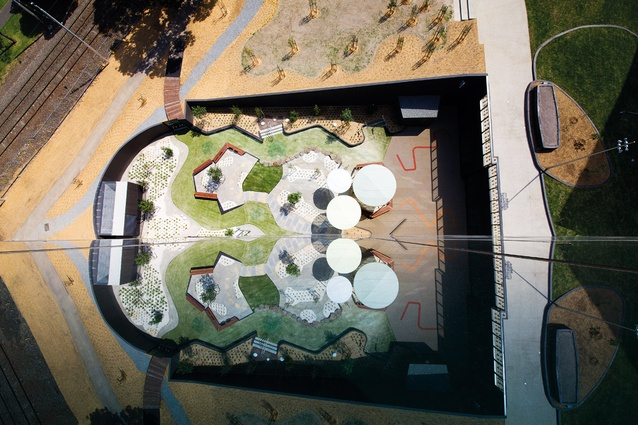 Aerial view of the childcare courtyard.