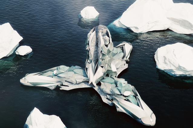 An image from the Antartica: Re-cyclical/A Frontier in Flux exhibition by Studio Hani Rashid for the Antarctic pavilion, Venice.