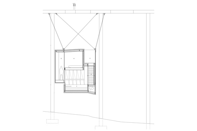 Section B: Suspended writer's cabin design by Nobbs Radford Architects.