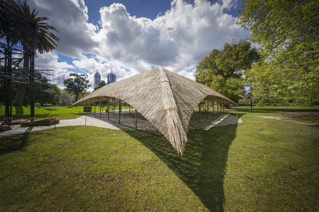 M Pavilion, Melbourne by Bijoy Jain of Studio Mumbai. An exploration of traditional handmade architecture, it is constructed from 7km of bamboo, 50t of stone and 26km of rope.
