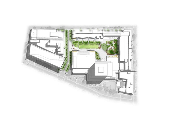 The campus masterplan, showing the location of the Alumni Green.