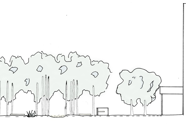 Conceptual sketch highlighting the various layers of the design.