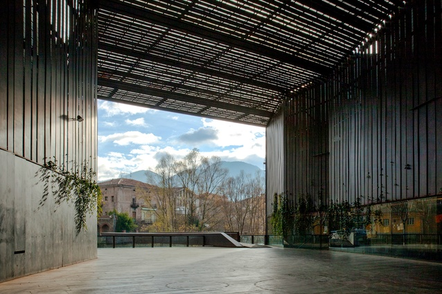 La Lira Theater Public Open Space in Ripoll, Spain by RCR Arquitectes in collaboration with J. Puigcorbé (2011).