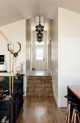 The light pendants in the hallway were ordered online from Restoration Hardware in the US.