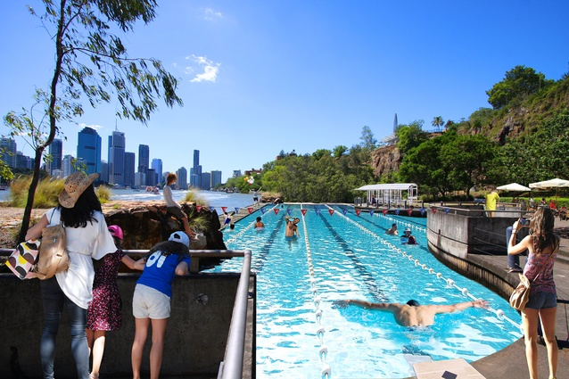A creative response by John Ellway in the Design Finds exhibition - a public lap pool at the base of the Kangaroo Point cliffs.
