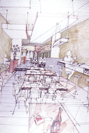 An original sketch of the Meyers Place interior designed by Six Degrees Architects.