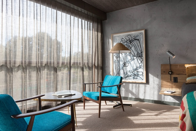 Some rooms enjoy views of Lake Burley Griffin. Artwork: Hannah Quinlivan.