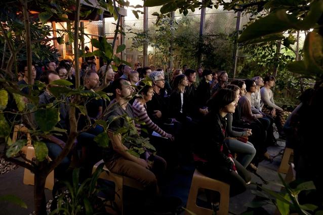 The audience listen to Rachel Neeson, Jo Nolan and Luke Hastings talk about the Castlecrag House.