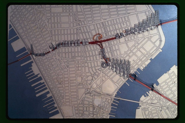 Plan showing Robert Moses' Lower Manhattan  Expressway (LOMEX), which would have travelled through Greenwich Village.