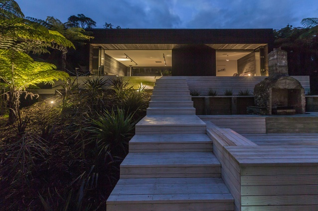 Exterior of the modular EMAHOUSE on Waiheke Island.