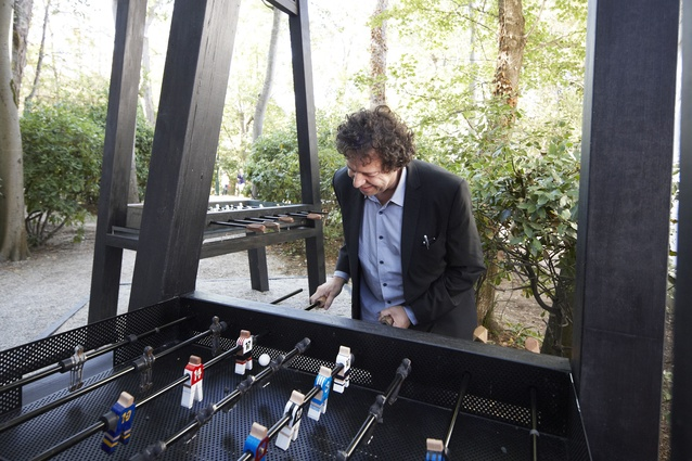 Juan Herreros playing foosball at the  Australian pavilion (Venice 2012).