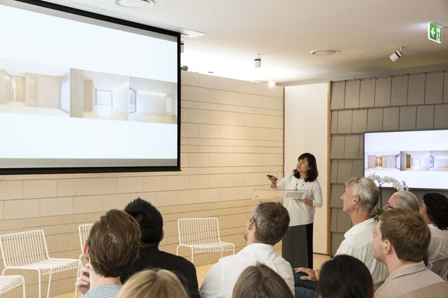 Sojung Lee of Korea-based practice OBBA presenting at the Our Houses talk in Brisbane.