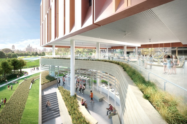 Landscaped terraces in the proposed Inner Sydney High School by FJMT.