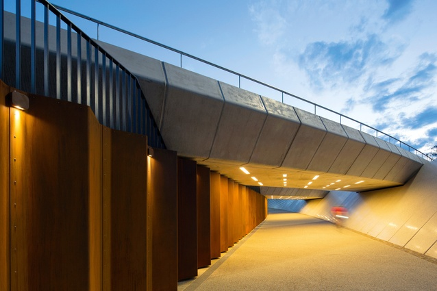 A number of clever design tactics provide a sense of safety in the underpass, including clear sightlines, vandal-proof lighting and no opportunities for concealment.