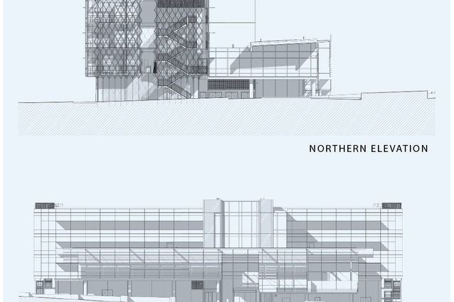 Exterior, northern and western elevation.