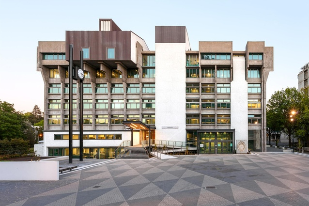 Heritage Award: Matariki, University of Canterbury by Warren and Mahoney. East elevation and existing plaza.