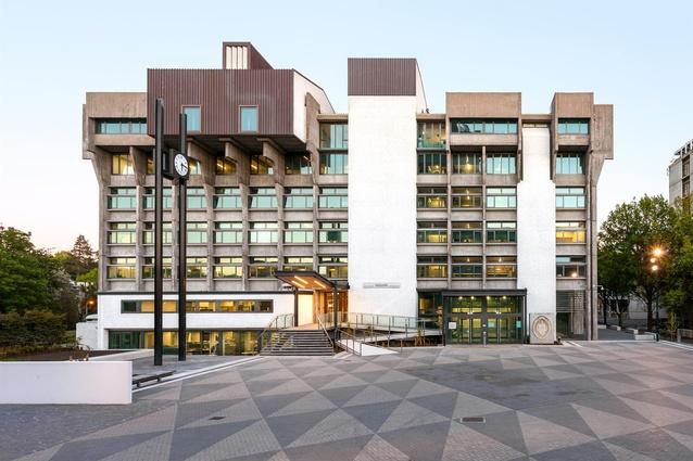 Heritage Award: Matariki, University of Canterbury by Warren and Mahoney. East elevation and existing plaza.