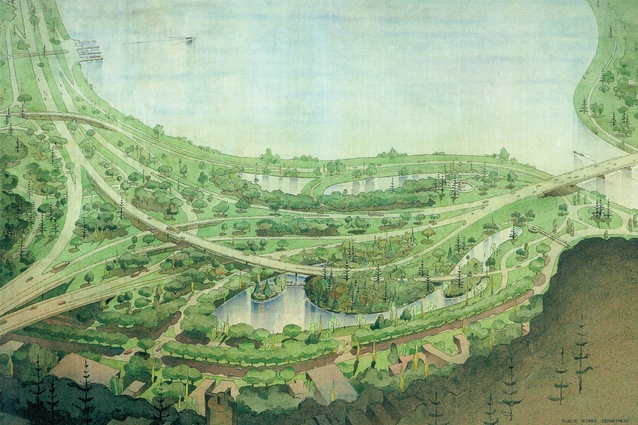Landscape architect John Oldham's painting <i>Overall Plan</i>, 1966, depicts his bold proposal for a botanic garden which would have seen Perth's waterfront rendered as an urban forest.