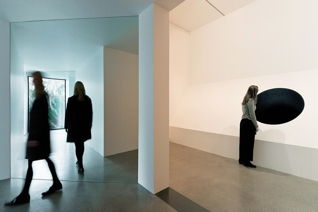 An installation view of Echo (2016) and Skytree (2016) by Natasha Johns-Messenger.