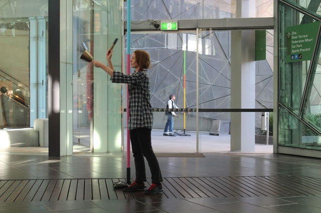 <i>15 locations/15 minutes/15 days</i> by Geoff Robinson, winner of the 2014 Melbourne Prize for Urban Sculpture