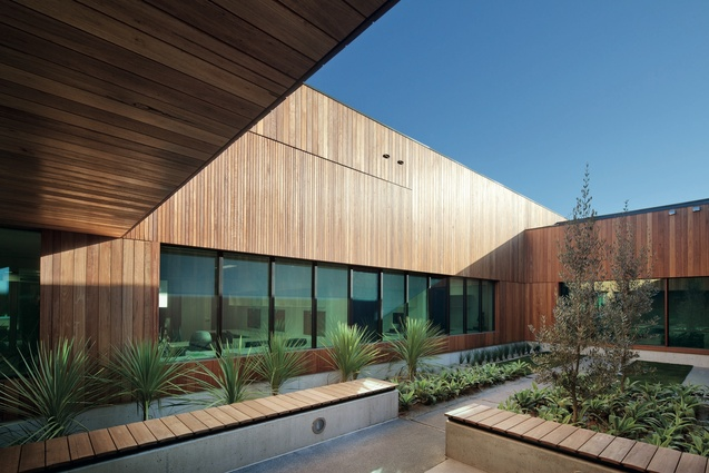 A courtyard within the Dandenong mental health facility designed by Whitefield McQueen Irwin Alsop and Bates Smart.