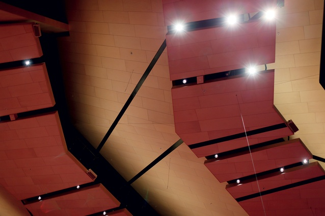 Abstract view of the suspended ceiling's new reflectors.