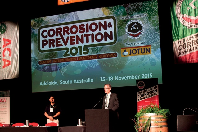 A speaker at the Corrosion & Prevention 2015 conference.