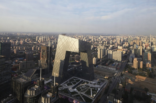 "OMA's CCTV ""Big Pants"" headquarters building in Beijing."