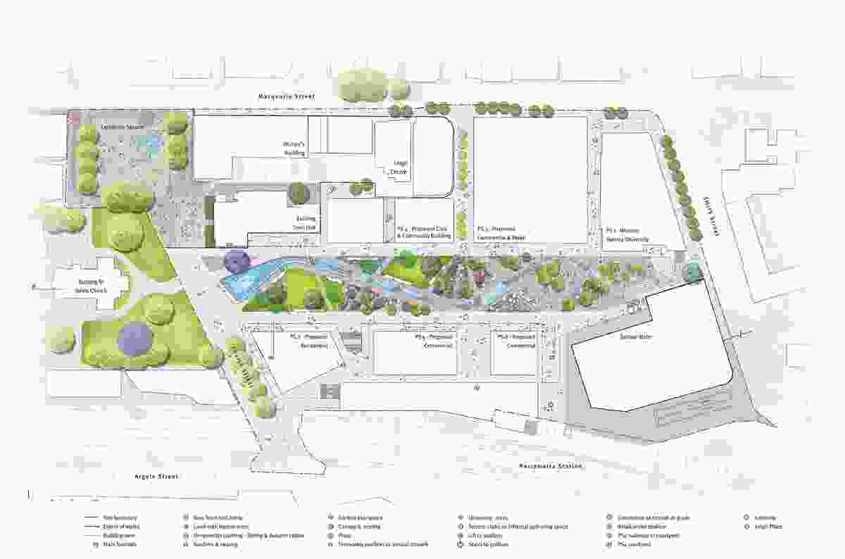 Plan of Parramatta Square draft concept design by JMD Design, Taylor Cullity Lethlean, Tonkin Zulaikha Greer, and Gehl Architects.
