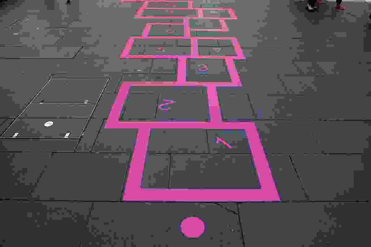 Hassell's Walk the Line turns the site's path into a game area, with hopscotch pitches.