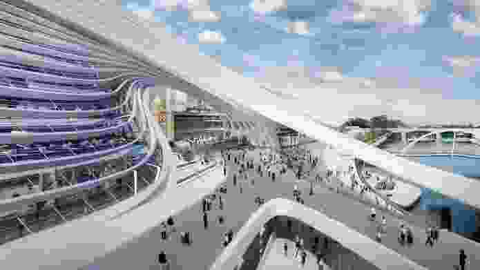 Zaha Hadid Architecture + BVN Donovan Hill: The piazza and Yarra promenade.