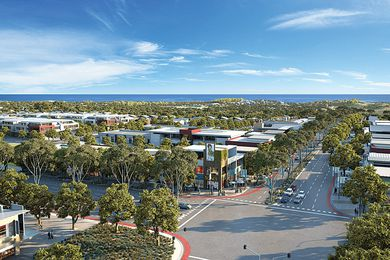Artist's impression of Alkmios Beach, WA, looking west to the beach from the Marmion Avenue Regional Centre.