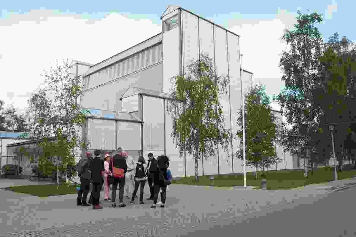 The Dulux Study Tour group outside the Bagsvaerd Church, Copenhagen, designed in 1976 by Jørn Utzon.